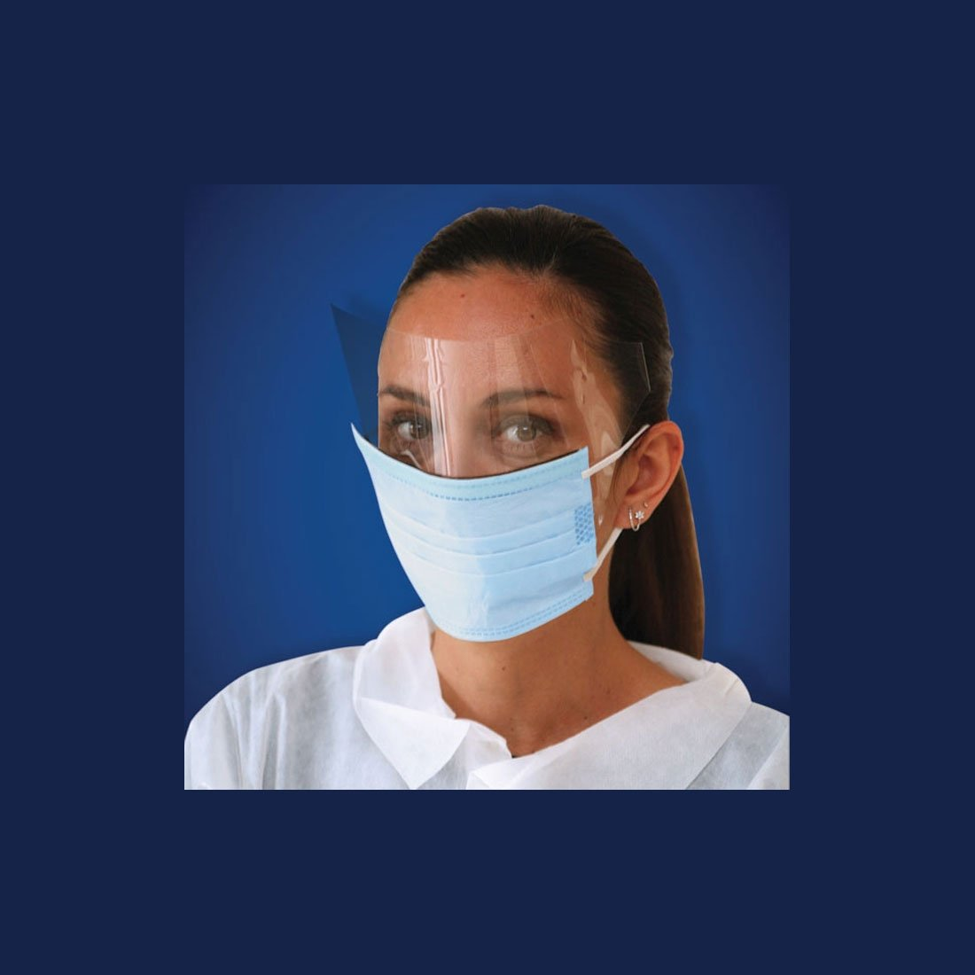 Ear Loop Face Mask w/Shield, White, 25 Count