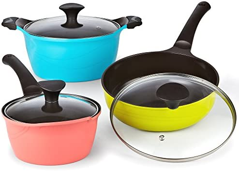 Cook N Home 6 Piece Nonstick Ceramic Coating Die Cast Cookware Set, Multicolor