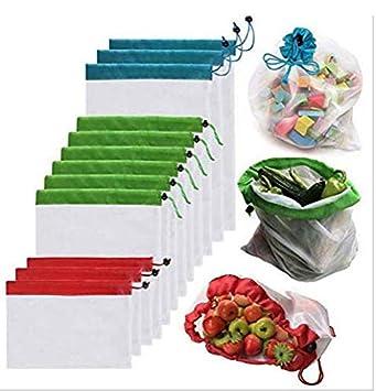 LINSUNG Costura de malla de poli/éster bolsa de verduras y frutas bolsa de malla de almacenamiento de comestibles bolsa de malla de cord/ón repetible bolsillo