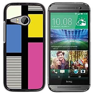 Be Good Phone Accessory // Dura Cáscara cubierta Protectora Caso Carcasa Funda de Protección para HTC ONE MINI 2 / M8 MINI // Art Stripes Fuchsia