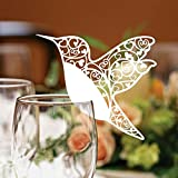 Name Place Card Holders,DBTECH 50Pcs Laser Cut Hummingbird Seat Cards for Wedding Champagne , Wine Glass , Table Number Banquet Favor Decoration