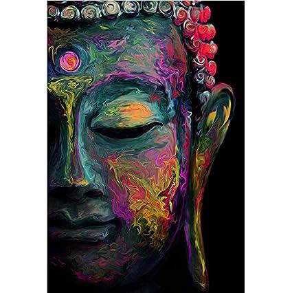 Amazon Com Faicai Art Buddha Wall Art Prints Colorful Buddha Face