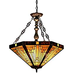 Chloe Lighting CH33359MR22-UH3 Innes Tiffany-Style Mission 3-Light Inverted Ceiling Pendant with Fixture with 22-Inch Shade