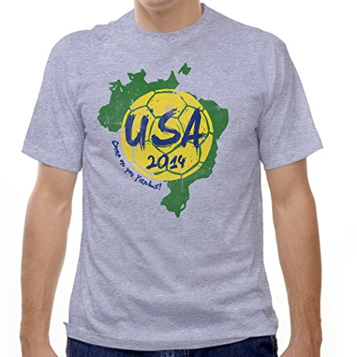 USA Brazil World Cup 2014 T-shirt, Grey Heather, XX (Usa Brazil World Cup)