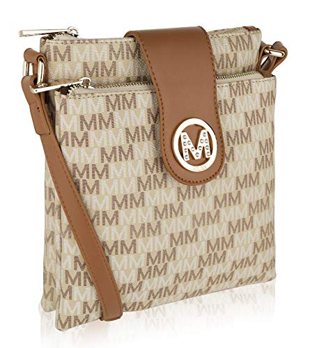 Beige Signature Handbag - Women Crossbody Bags | top zippered compartments | Messenger Shoulder | MKF Collection Signature Design