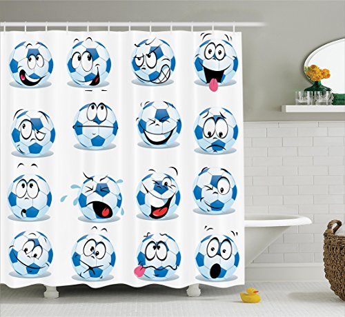 Ambesonne Sports Decor Collection, Cartoon Soccer Ball with Many Expressions Bored Laughing Happy Smiley Image, Polyester Fabric Bathroom Shower Curtain, 75 Inches Long, Blue White Red Pink by Ambesonne