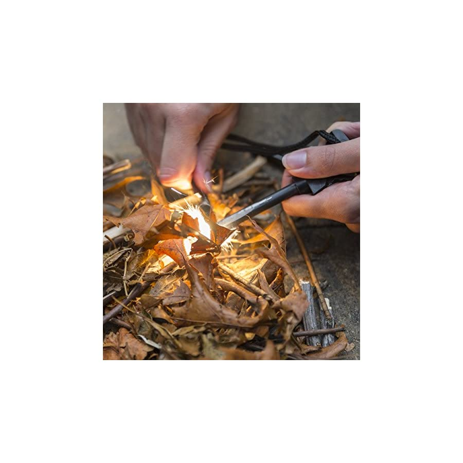 Fire Starter By DARMON Ferrocerium Ferro Rod with Striker and Whistle | Military Grade Survival Flint and Steel