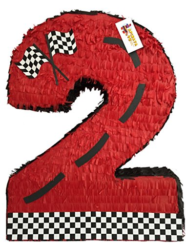 (APINATA4U Red Race Car Theme Number Two Pinata 24