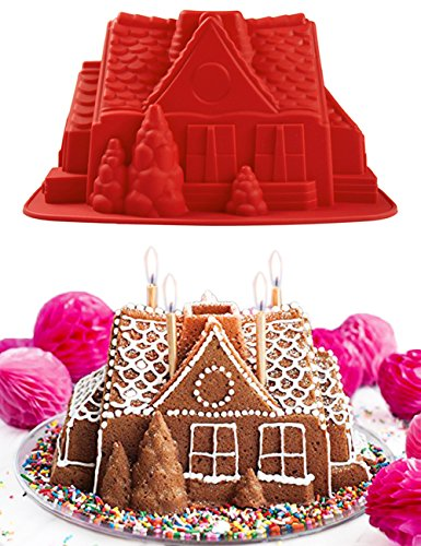 PERNY Silicon Molds, Silicone Gingerbread House (Gingerbread Mold)