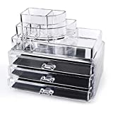 Clear Acrylic Cosmetics Makeup and Jewelry Organizer 3 Drawers with 8 Compartments Top Section (idea for Christmas , birthday gift ) ~ We Pay Your Sales Tax