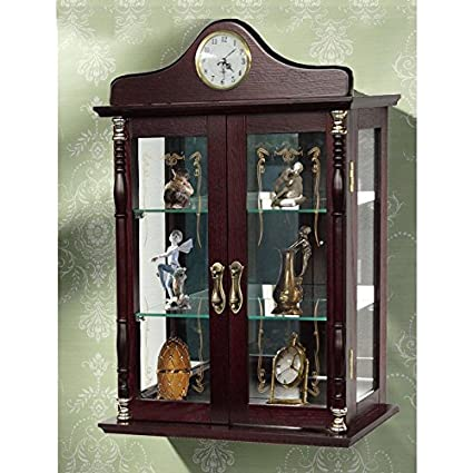 Wall Mounted Curio Cabinet Glass Display Shelves Lighted Case Corner Oak  Furniture Doors Wood Storage