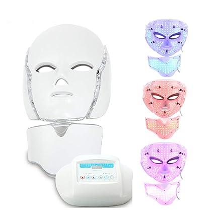 Belleza LED Terapia De Fotones Máscara Facial Con Cuello, 3 Luz De Color Microcorriente Antienvejecimiento