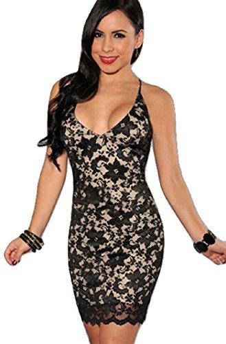 New Damen schwarz amp; Nude Spitze Open Back Dress Club Sommer Kleid ...