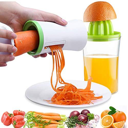 Handheld Vegetable Spiralizer and Manual Juicer, 2 in 1 Kitchen Gadget Vegetable Spiral Slicer Grater Cutter + Lemon Citrus Squeezer Orange Juicer Orange Juice Extractor