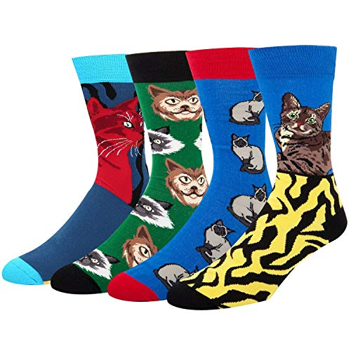 Cat Colorful (Novelty Dress Socks for Mens Crew Crazy Cool Animal Red Gray Leopard Cat Colorful Casual Cotton Office Socks with Design 4 Packs Gift Box)