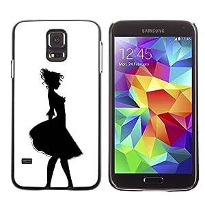 Paccase / SLIM PC / Aliminium Casa Carcasa Funda Case Cover - Girl Relief Contour Black White - Samsung Galaxy S5 SM-G900