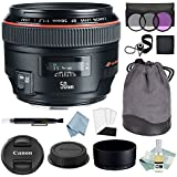 Canon EF 50mm f/1.2L USM Lens + Advanced Accessory Kit - Canon Lens Bundle Includes EVERYTHING You Need to Get Started