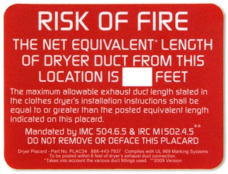 Image result for Dryer Exhaust Length label