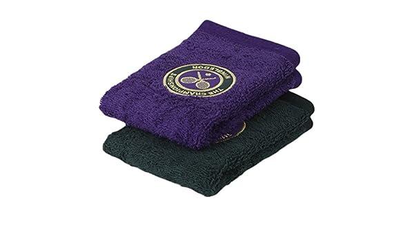 Wimbledon Mens - Juego de toallas para invitados (Pack de 2 - Verde y morado - tamaño 11