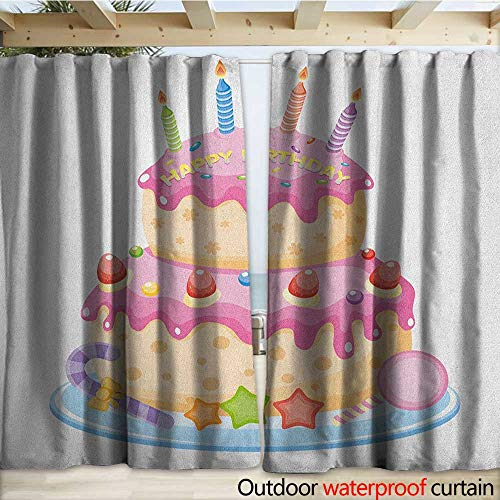 Kids Birthday Drape for Pergola Pastel Colored Birthday Party Cake with Candles and Candies Cele ...