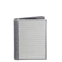 RFID Blocking Stewart/Stand Textured Stainless Steel Tri-Fold Wallet With ID