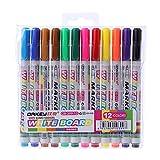 Maskdoo 12 Colors Non Toxic Plastic Whiteboard Marker Pen - Dry Erase Mark Sign Fine Nib Ink Pen Set - Coloured Colouring Writing Drawing Pen (1 Set)