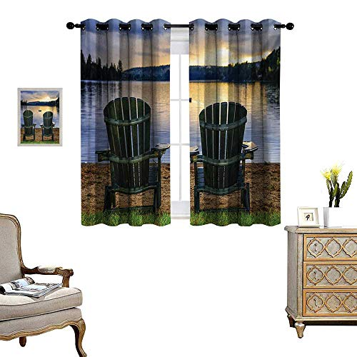 Seaside Window Curtain Drape Two Wooden Chairs on Relaxing Lakeside at Sunset Algonquin Provincial Park Canada Decorative Curtains for Living Room W55 x L72 Navy Green