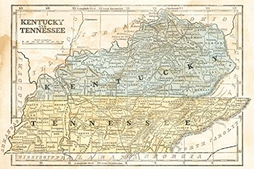 Kentucky and Tennessee Vintage 1855 Antique Style Map Mural Giant Poster 54x36 inch