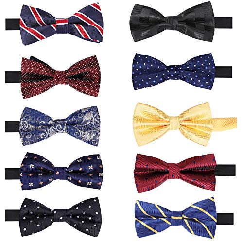 - 10 Pcs Elegant Pre-tied Bow Ties Set Adjustable Formal Tuxedo Bow Tie for Men Boys in Different Colors.