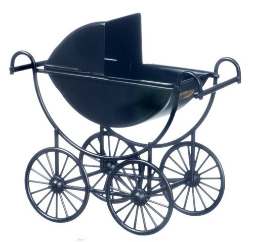 Dollhouse Miniature Black Baby Carriage from Town Square Miniatures