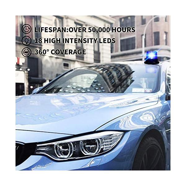 Luz de advertencia 12V LED Baliza Luces magnética Impermeable advertencia de emergencia para vehículo automotor Camión remolque Recargable 6