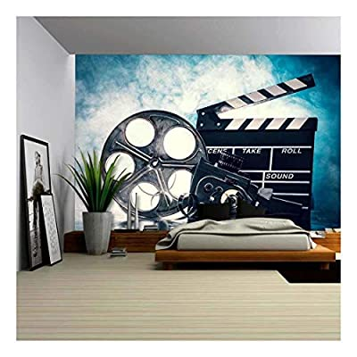 Retro Film Production Accessories Still Life Concept of Filmmaking Smoke Effect on Background, Classic Artwork, Handsome Style