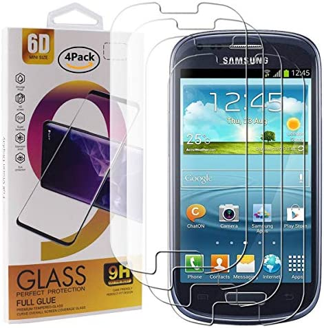 Guran 4 Paquete Cristal Templado Protector de Pantalla para Samsung Galaxy S3 Mini Smartphone 9H Dureza Anti-Ara?azos Alta Definicion Transparente Película: Amazon.es: Electrónica