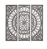 Deco 79 Wood Mirror Panel, 48 by 48-Inch, Set of 3