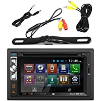 Dual AV Double Din 6.2 Touch Screen DVD Bluetooth USB Receiver, PLCM18BC Pyle License Plate Mount Rear View Backup Color Camera With Distance Scale Line (Zinc Black Chrome)
