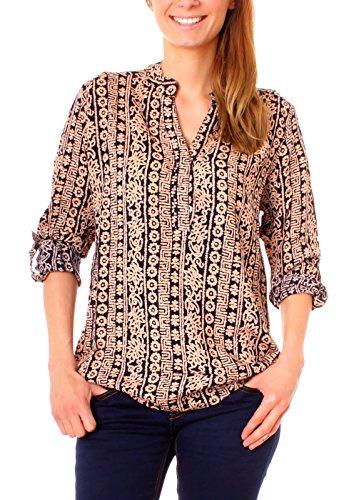 Fragola Moda - Camisas - Túnica - Paisley - para mujer Boho schwarz/beige