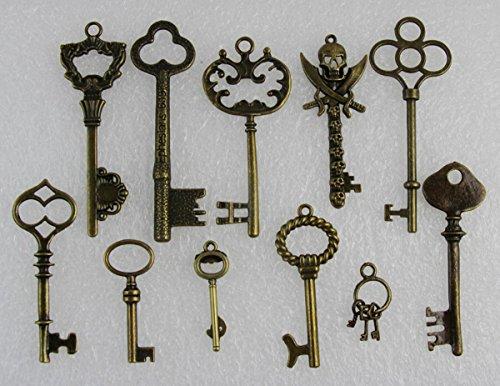 11 Pc Antique Vtg old look skeleton key pendant heart bow...