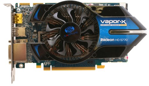 Sapphire Radeon HD5770 Vapor-X 1 GB DDR5 2DVI/HDMI/DisplayPort PCI-Express Video Card 100283VX-2L