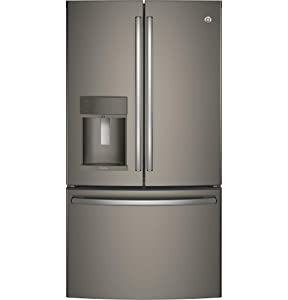 "GE Profile PFE28KMKES 36"" Energy Star ADA Compliant French Door Refrigerator with 27.8 cu. ft. Capacity TwinChill Evaporator Water and Ice Dispenser and Drop Down Tray: Slate"