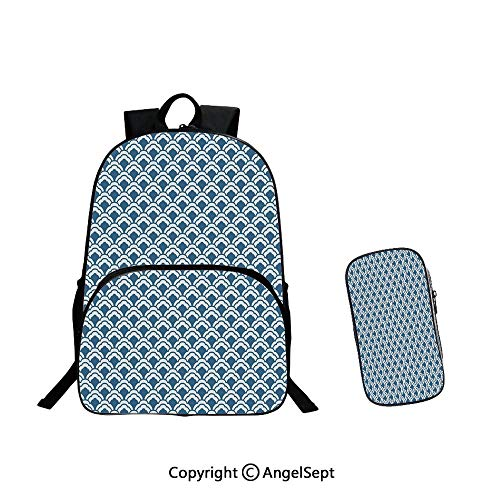 School Bags Casual Daypack Travel Outdoor,Wedding Rings on Abstract Backdrop Romance Marriage Engagement Print 15.7inches Pale Pink Baby Blue Gold,Backpack With Pencil Case Two-piece (Boy Or Girl Wedding Ring On String)