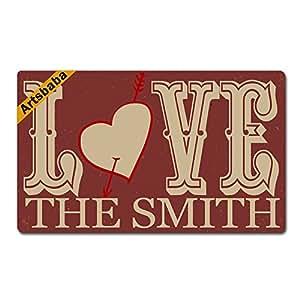 """Artsbaba Personalized Your Text Doormat Love Arrow Doormats Monogram Non-Slip Doormat Non-woven Fabric Floor Mat Indoor Entrance Rug Decor Mat 30"""" x 18"""""""