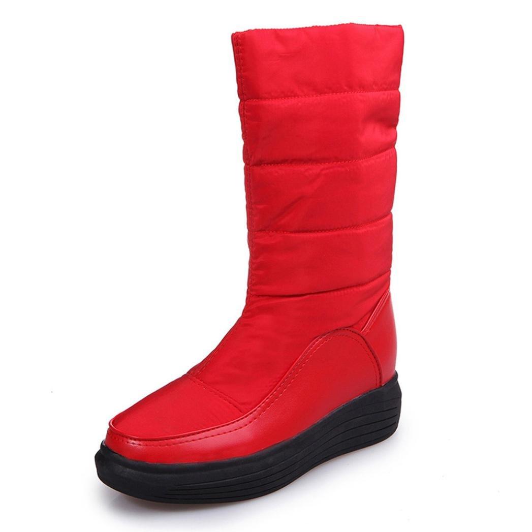 Voberry Winter Warm Snow Boots Cotton Shoes Flat Heels Knee High Women Boots (6.5(RU/EU/CN- 37), Red)