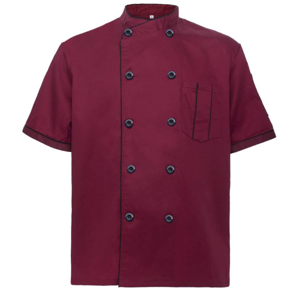TOPTIE Short Sleeve Chef Jacket Kitchen Cook Coat Stripe Uniforms