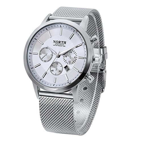 Price comparison product image Howstar Male Watch Fashionable Mens Calendar Watches Quartz Stainless Steel Bracelet Wrist Watch (White)