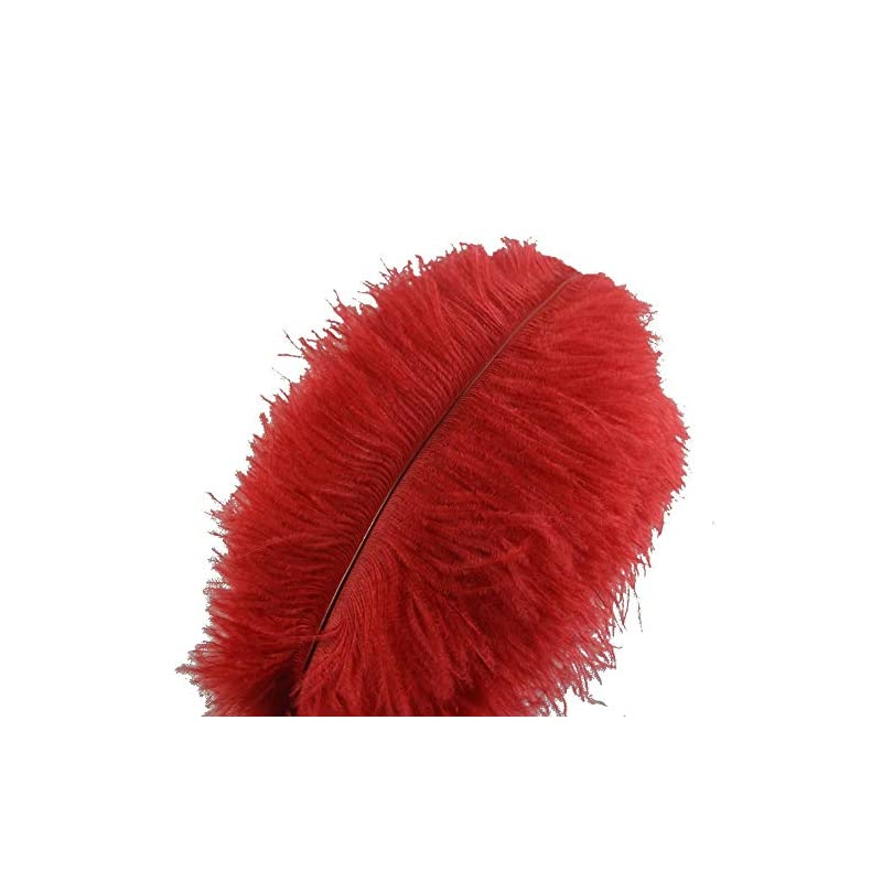 silk flower arrangements sowder 10pcs ostrich feathers 12-14inch(30-35cm) for home wedding decoration(red)