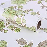 SimpleLife4U Retro Green Peony Floral Contact Paper Self-Adhesive Shelf Liner Drawer Locker Sticker 17.7 Inch By 9.8 Feet
