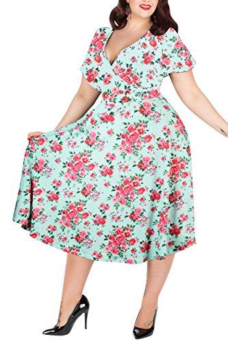 Nemidor Women's V-Neckline Stretchy Casual Midi Plus Size Bridesmaid Dress (16W, Green-Print)