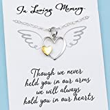 Mother of an Angel • Baby Memorial Charm Necklace • Miscarriage Jewelry • Silver & Gold Heart • Child Loss Gift • Though We Never Held You in Our Arms