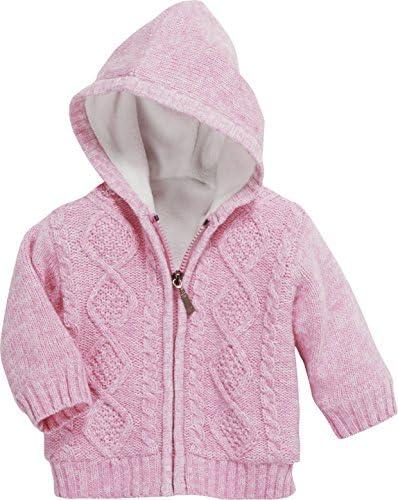 Baby Strick-Jacke, gefütterter Hoodie für Kinder mit Kapuze und Knopf-Verschluss