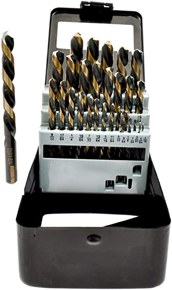29PC Left Hand Industrial Black /& Gold Drill Bit Set 135 degree split Point J/&R Quality Tools